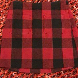 J. Crew Skirt Red Black Plaid 6